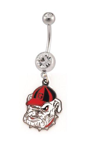 NCAA Georgia Bulldogs Crystalline Gem Belly Ring (Gem Belly Crystalline Ring)