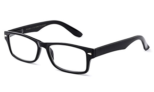 Newbee Fashion - IG Unisex Clear Lens Slim Light Weight Small Plastic Rectangular Frame Clear Lens Glasses with Spring Temple 1928 Black