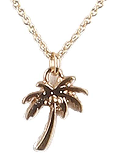 Palm Charm Pendant Tree - Fashion Jewelry ~ Small Tropical Palm Tree Charm Pendant Necklace (Goldtone)