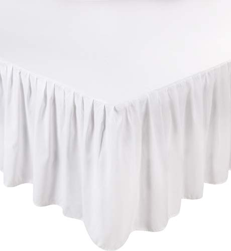 Utopia Bedding Bed Ruffle Skirt - Brushed Microfiber Bed Wrap (Queen - White)
