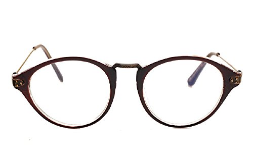 JTS9389 Plastic Frame Engraved Wrapped Metal Arm Round Eyeglasses Small (C4-brown, - Bans Cheap Prescription Ray Glasses