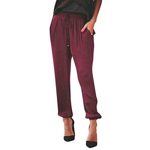 JOFOW Womens Pants Solid Loose Swing Soft Comfy Strappy Drawstring Tie Casual Straight Leg Mid Waist Slim Long Ankle Trousers (2XL,Wine) ()