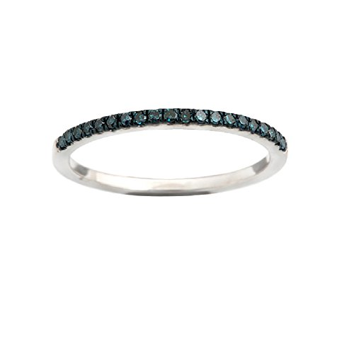 Brand New Round Brilliant Cut Real Blue Diamond Half Eternity Anniversary Ring in 925 Sterling Silver, Size 10.5 -