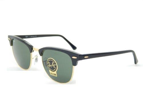 New Ray Ban Clubmaster RB3016 W0365 Ebony/Arista/G-15 XLT 49mm Sunglasses