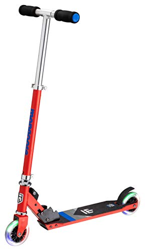 Mongoose Trace 100+ Foldable Kick Scooter, Featuring Quick-Release Adjustable Height Handlebars with 100mm LED Lighted Wheels, Red/Blue