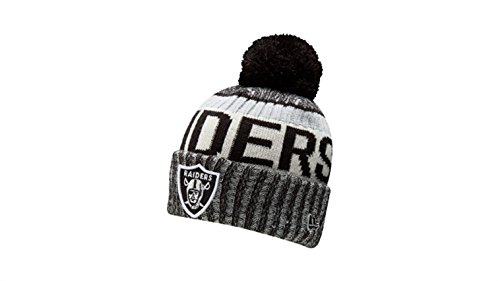 New Era Knit Oakland Raiders Silver On Field Sideline Sport Knit Winter Stocking Beanie Pom Hat Cap 2015 New Era Winter