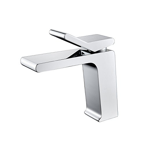 Contemporary Hotel Square Style Single Handle One Hole Bathroom Sink Faucet Lavatory Deck Mount,Chrome - Images Contemporary Single Style