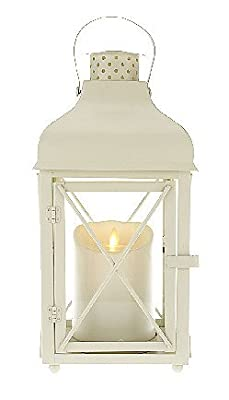 Luminara Churchill Outdoor Lantern - Flameless with Timer: White, 15 Inches