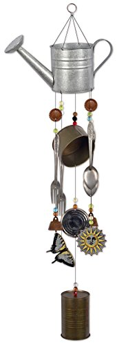 Sunset Vista Designs 92556 Watering Can Metal Wind Chime, Galvanized