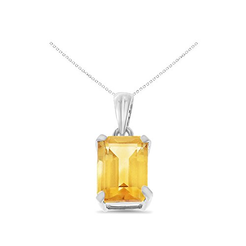 14K White Gold 6 x 8 mm. Emerald Cut Genuine Natural Citrine Pendant With Square Rolo Chain - Citrine Emerald Pendant Cut
