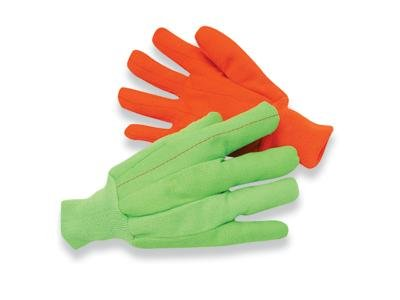Radnor Large Hi-Viz Green 18 Ounce Cotton/Polyester Blend Fully Corded Cotton Canvas Gloves With Knitwrist And Double (Corded Canvas Glove)