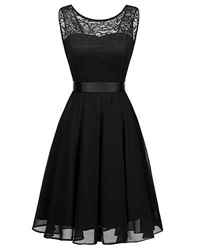 BeryLove Women's Short Floral Lace Bridesmaid Dress A-line Swing Party DressBLP7005BlackXL