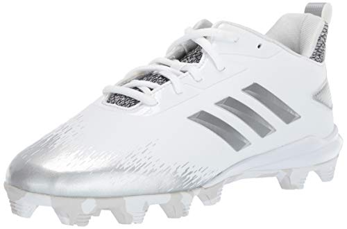 sports shoes e1900 e3d71 adidas Unisex Adizero Afterburner V Baseball Shoe White Silver Metallic Grey  3.5 M US Big Kid
