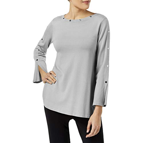 Alfani Womens Embellished Jewel Neck Pullover Sweater Gray - Neck Jewel Sweater