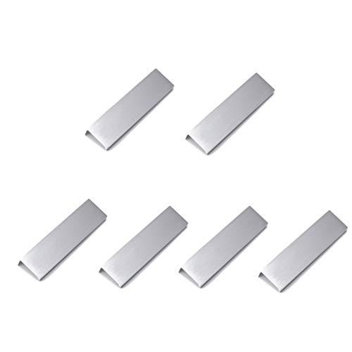 "LICTOP 15cm/5.9"" Silver Back Mount Finger Edge Pull Concealed Handle for Home Kitchen Door Drawer Cabinet (6Pcs)"