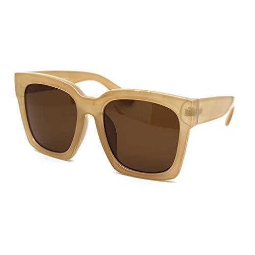 Womens Boyfriend Style Oversize Horned Rim Thick Plastic Sunglasses (beige brown, 54)