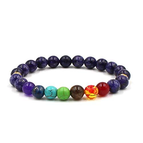 Haluoo_Jewelry Essential Oil Diffuser Bracelet,Haluoo 8 Mm Lava Rock 7 Chakras Bead Bracelets Braided Rope Natural Lava Rock Stones Yoga Beads Bracelet Bangle Anxiety Bracelet for Women Mens (Purple)