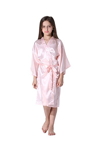 Vogue Forefront Girls' Satin Plain Kimono Robe Bathrobe Nightgown, Size 8, (Soft Pink Satin)