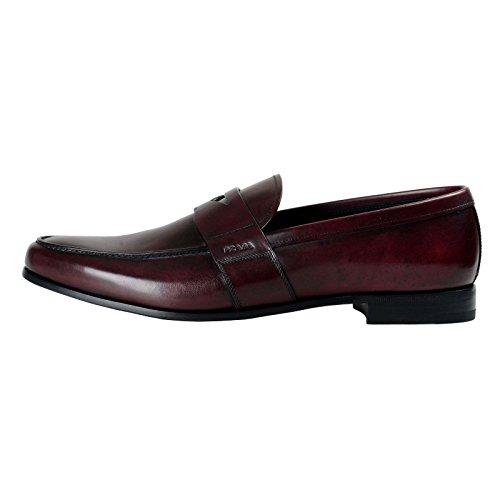 Prada Heren Bordeaux Lederen Laars Slip Op Schoenen Ons 12 It 11 Eu 45