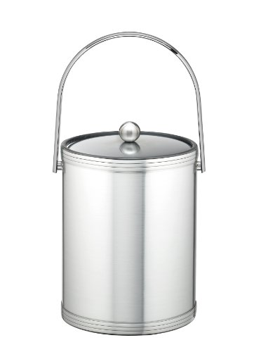 Kraftware Ice Bucket with Triband Accents and Track Handle - 5 Quart, Brushed Chrome, Double Walled, Leak Resistant, MADE IN U.S.A.