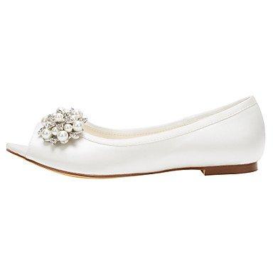 Cómodo y elegante soporte de zapatos de las mujeres pisos primavera/otoño otros Stretch satén boda/vestido/de cristal soporte de talón pearlblack/rosa/rojo/ rosa