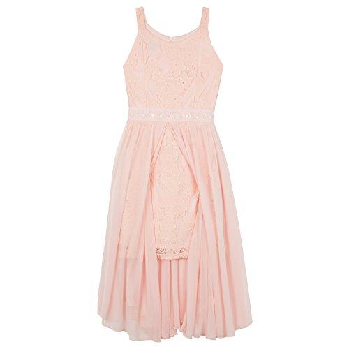 Amy Byer Big Girls' Assymetrical Dress with Sparkly Waist, Blush, (Girls Blush)