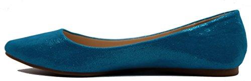Walstar Scarpe Da Donna Eleganti Scarpe A Punta Piatte Blu Scamosciato Metallizzato