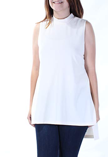 (Alfani Women's Small Mock-Neck Sleeveless Blouse Crew Neck White Ivory S NEW)