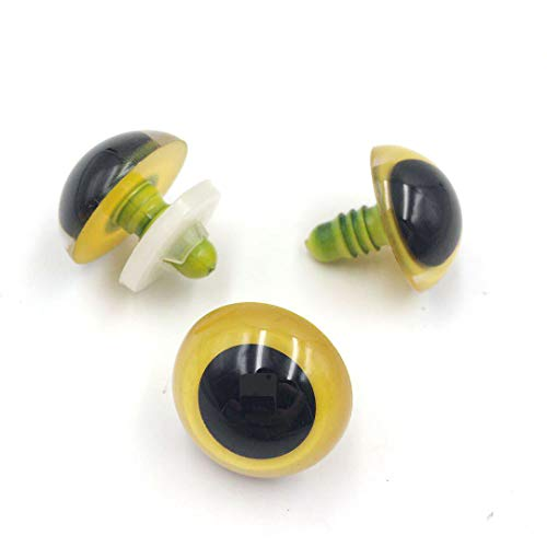 Eyes Yellow Animal - Safety Animal Eyes with Plastic Washers for Bear Doll Stuffed Puppet DIY Craft -Yellow- 24mm - 10 Pieces