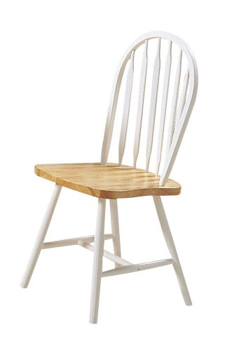 ACME 02482NW Set of 4 Farmhouse Arrow Back Windsor Side Chair, Natural and White Finish