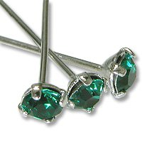 JewelrySupply Swarovski Head Pin 1-1/2 inch Emerald Sterling Plated (Package of 2)