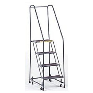 Ballymore H426R Steel Standard Rolling Ladder with Spring Loaded Casters and Handrails, Abrasive Mat Tread, Unassembled, OSHA/ANSI Standard, 4 Steps, 24