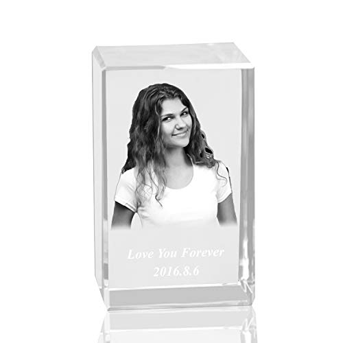 Glass Cube Birthday (Qianruna Personalised Custom 2D/3D Laser Engraving Photo Crystal Cube Etched Glass Picture Block Paperweight for Wedding and Birthday Gifts)