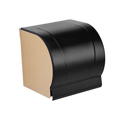 Zerodis Wall Mounted Waterproof Toilet Roll Paper Holder Space Aluminum WC Roll Tissue Box Bathroom Accessory with Mobile Phone Holder by Zerodis
