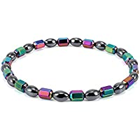 SODIAL Handmade Weight Loss Black Stone Magnetic Therapy Anklets Healthcare Biomagnetism Magnetic Bracelet for Women Men Jewelry