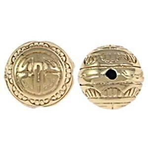 Mala Gold Tone Scallop Design 12mm Round 3-Hole Guru Bead 1pc Crafting Key Chain Bracelet Necklace Jewelry Accessories Pendants