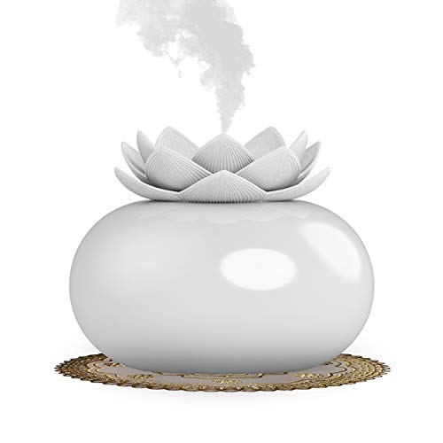 Vyaime Decor Essential Oil Diffuser Cute Lotus, Mini Ceramic Home Humidifier Aromatherapy Difuser 200mL 12Hours, Air Purifier Freshener for Office Bedroom Yoga Spa Baby (White) (Blue And White Ceramic Elephant Plant Stand)