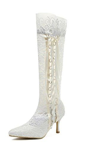 Miyoopark Ladies Pointy Toe zapatos de novia boda encaje tacón alto rodillera botas marfil