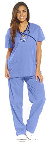 11135W Just Love Women's Scrub Sets / Medical Scrubs / Nursing Scrubs - XS,Ceil With Navy Trim,X-Small -