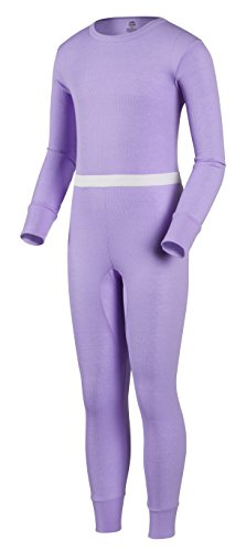 Thermal Hydropur - Indera Youth Performance Rib Knit Thermal Underwear Shirt and Pant Set with Hydropur, Lilac, Medium