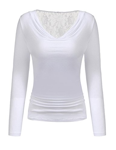 Stretch Shirred Jersey Top (Grabsa Women's Cowl Neck Long Sleeve Solid Shirred Jersey T Shirt Blouse White Small)
