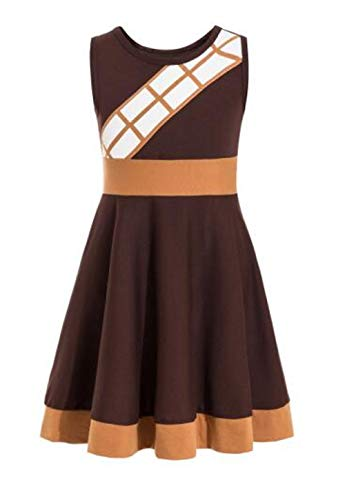 Chewbacca Costume for Kids The Last Jedi Costume Girls Dress for Toddler Star Wars (Brown, 5-6) -