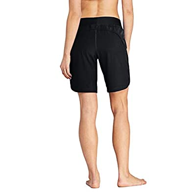 "Lands' End Women's 9"" Quick Dry Elastic Waist Modest Board Shorts Swim Cover-up Shorts with Panty at Women's Clothing store"