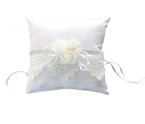 Diamond Ring Pillow - Qingbei Rina Bridal Wedding Ring Pillow with White Rose Lace for Wedding Ceremony Wedding Supplies Gift White(7.5 X 7.5 Inch)