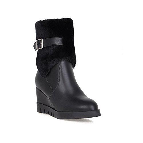 Platform SXC02179 AdeeSu Tassels Urethane Resistant Buckle Slip Black Boots Womens 6q5PwqBxZ