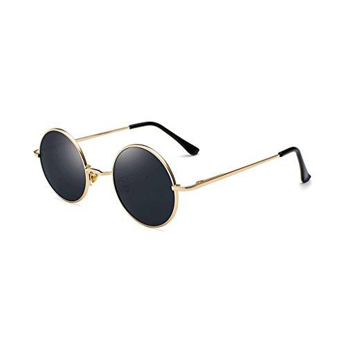 Gafas Redondas bisagra la de HUACANG polarizadas Retros Gafas Sol de de de Lennon Marco Gafas la de Vendimia Sol Las Sol Primavera la de del metálico de Black UV400 Gold Fashion Unisex Sol de Gafas Hippie ZrUp8XqpW1