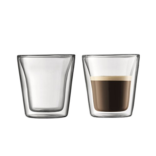 Bodum Canteen Double Wall Espresso/Shot Glass, Set of 2 - 3 Ounce Shot Glasses