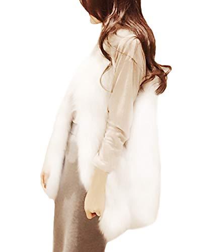 Abrigos Suave Termica Mujeres Casual Fashion Chaqueta Mujer Piel Anchos Cómodo Talla Blanco Casuales Grande Mangas Chaleco Invierno Falsa De Otoño Vintage Sin Elegantes PqRf0xO