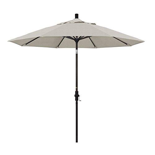 California Umbrella 9' Round Aluminum Market Umbrella, Crank Lift, Collar Tilt, Bronze Pole, Woven Granite Olefin