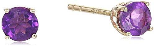 10k Yellow Gold Amethyst Earrings - 10k Yellow Gold African Amethyst Stud Earrings